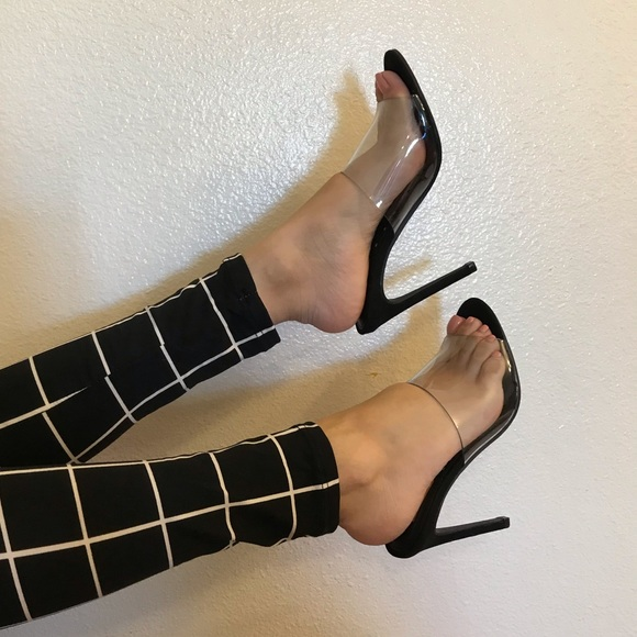 3f6aa6a9f7 ShopBossyJocey Shoes | Kylie Clear Black Suede Heeled Mules | Poshmark